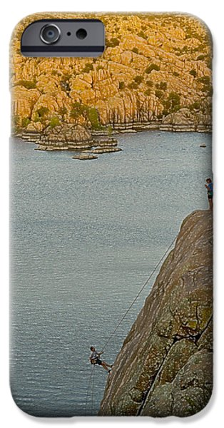 Watson Lake iPhone Cases - Rapelling iPhone Case by Tom Kelly