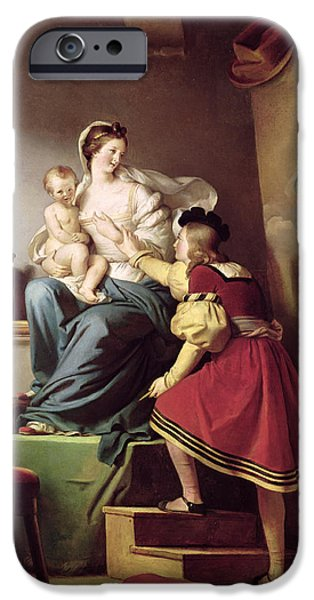 Baby Jesus iPhone Cases - Raphael Adjusting his Models Pose for his Painting of the Virgin and Child  iPhone Case by Alexandre Evariste Fragonard