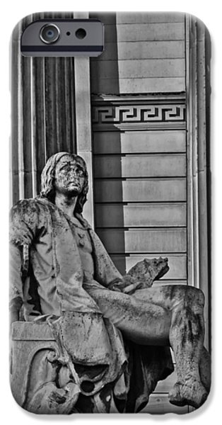 Raphael iPhone Cases - Raphael outside the Walker in black and white iPhone Case by Nomad Art And  Design