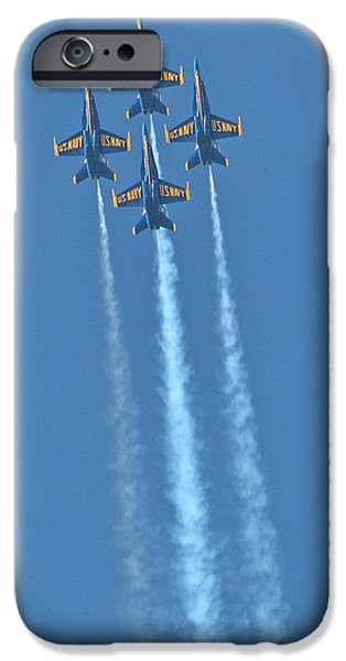 Jet Pyrography iPhone Cases - Rapid Ascent by the Blue Angels iPhone Case by DUG Harpster