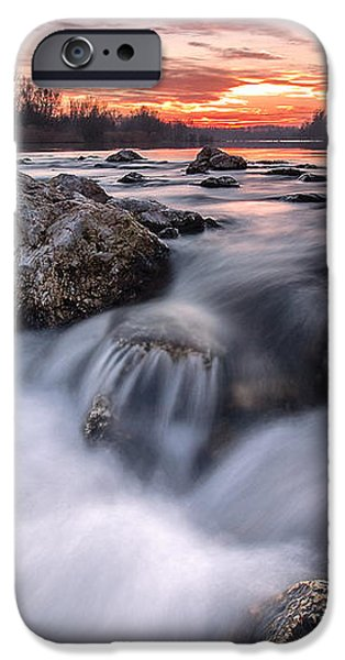 Rapids on sunset iPhone Case by Davorin Mance