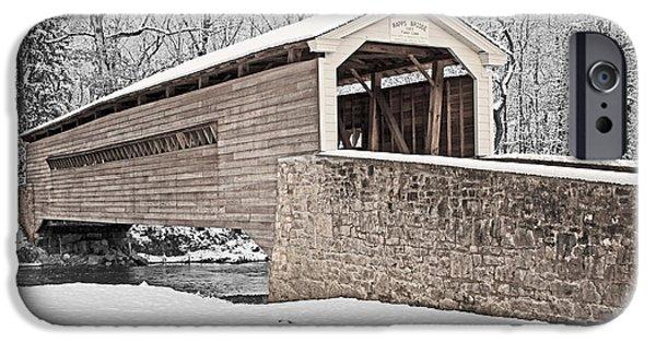 Covered Bridge iPhone Cases - Rapps Bridge in Winter iPhone Case by Michael Porchik
