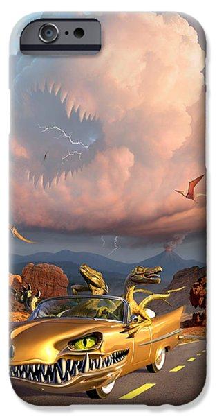 Prehistoric iPhone Cases - Rapt Patrol iPhone Case by Jerry LoFaro
