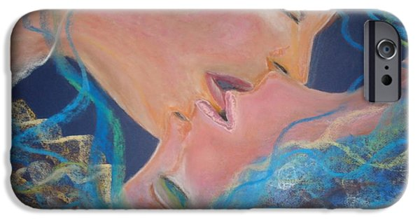 Women Together Pastels iPhone Cases - The Kiss iPhone Case by Lori  Lovetere