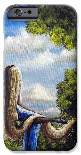 Cloudy Day Paintings iPhone Cases - Rapunzel Original Artwork from my Acrylic Painting iPhone Case by Shawna Erback