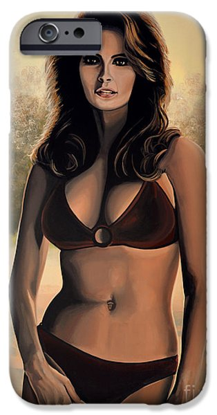 Symbol Paintings iPhone Cases - Raquel Welch 2 iPhone Case by Paul Meijering