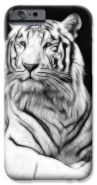 The Tiger Digital Art iPhone Cases - White Tiger iPhone Case by Daniel Hagerman