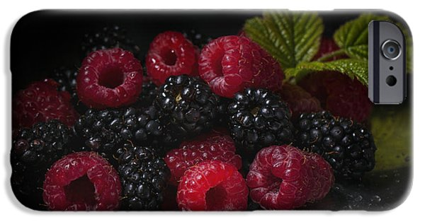 Berry Pyrography iPhone Cases - Raspberries and blackberries iPhone Case by Natasha Breen