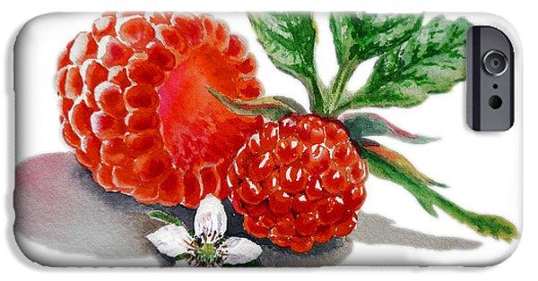 Nature Study Paintings iPhone Cases - Raspberries  iPhone Case by Irina Sztukowski