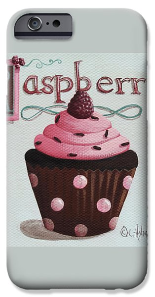 Raspberry Chocolate Cupcake iPhone Case by Catherine Holman
