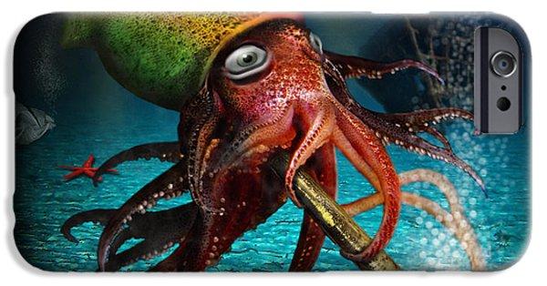 Pirate Ship iPhone Cases - Rasta Squid iPhone Case by Alessandro Della Pietra