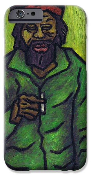 Fine Art Abstract Pastels iPhone Cases - Rastafarian iPhone Case by Kamil Swiatek