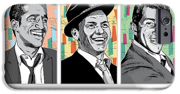Frank Sinatra iPhone Cases - Rat Pack Pop Art iPhone Case by Jim Zahniser