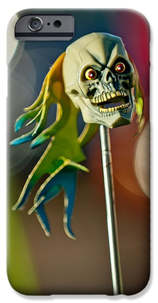 Antenna iPhone Cases - Rat Rod Antenna Skull  iPhone Case by Jill Reger