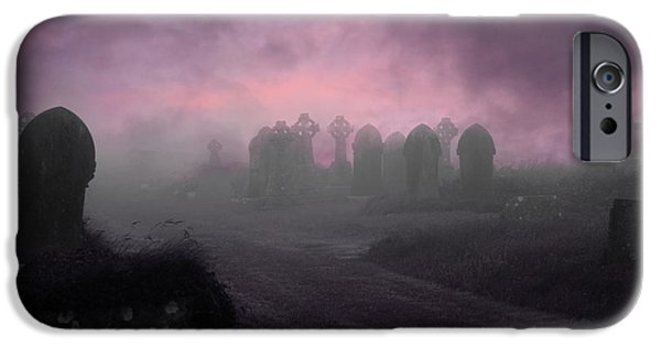 Cemetary iPhone Cases - Rave in the Grave iPhone Case by Terri  Waters