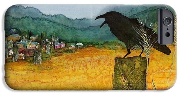 Village Tapestries - Textiles iPhone Cases - Raven and the Village 2 iPhone Case by Carolyn Doe