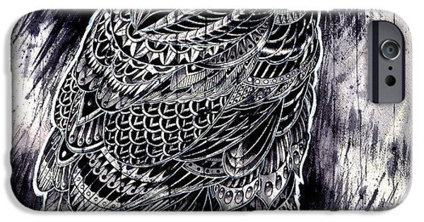 Artwork Drawings iPhone Cases - Raven iPhone Case by BioWorkZ