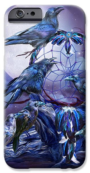 Raven iPhone Cases - Raven Dreams iPhone Case by Carol Cavalaris