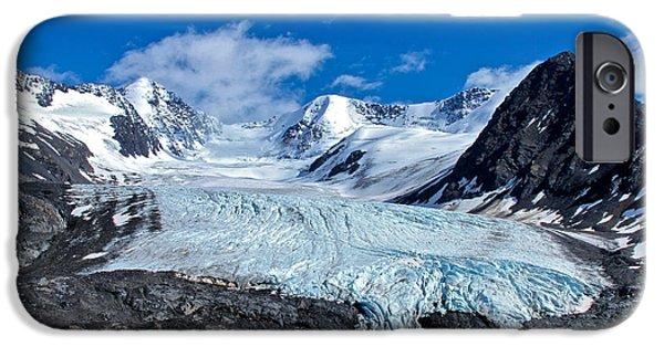 Glacier iPhone Cases - Raven Glacier 2 iPhone Case by Ed Boudreau