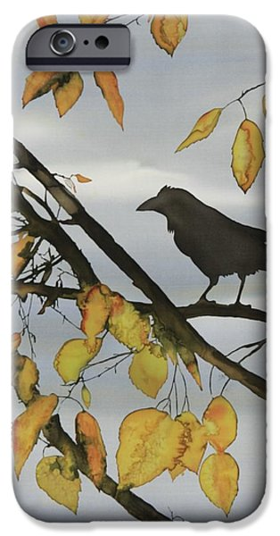 Birds Tapestries - Textiles iPhone Cases - Raven In Birch iPhone Case by Carolyn Doe