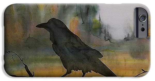 Crows Tapestries - Textiles iPhone Cases - Raven In Orange Birch iPhone Case by Carolyn Doe