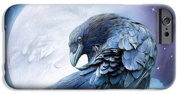 Raven iPhone Cases - Raven Moon iPhone Case by Carol Cavalaris