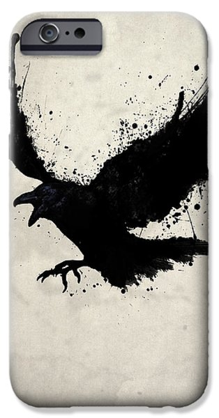 Illustration Drawings iPhone Cases - Raven iPhone Case by Nicklas Gustafsson