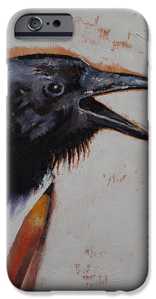 Crows iPhone Cases - Raven Sketch iPhone Case by Michael Creese