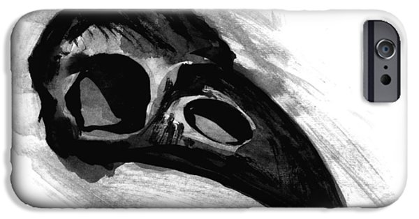 Negro Paintings iPhone Cases - Raven Skull - Crow Skull in Watercolor Painting iPhone Case by Tiberiu Soos