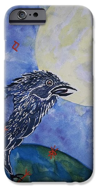 Out Of This World iPhone Cases - Raven Speak iPhone Case by Ellen Levinson