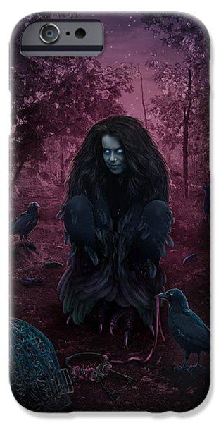 Fantasy Digital Art iPhone Cases - Raven Spirit iPhone Case by Cassiopeia Art