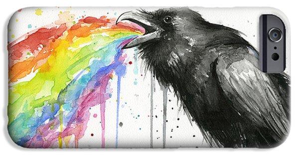 Black Bird iPhone Cases - Raven Tastes the Rainbow iPhone Case by Olga Shvartsur