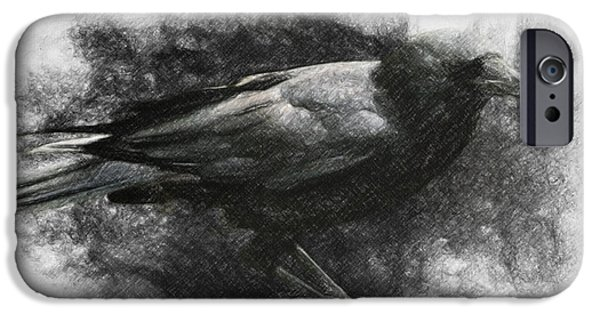 Crows Drawings iPhone Cases - Raven iPhone Case by Taylan Soyturk