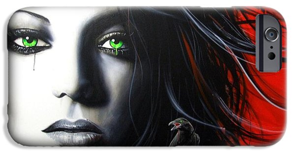 Hand Paint Brushed iPhone Cases - Raven Vixon iPhone Case by Christian Chapman Art