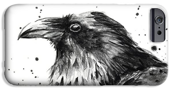 Crows Paintings iPhone Cases - Raven Watercolor Portrait iPhone Case by Olga Shvartsur