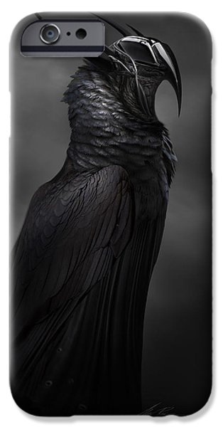 Macabre iPhone Cases - RavenMech iPhone Case by Alex Ruiz