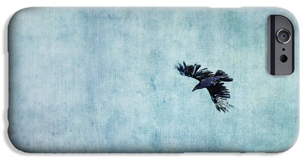 Raven iPhone Cases - Ravens flight iPhone Case by Priska Wettstein
