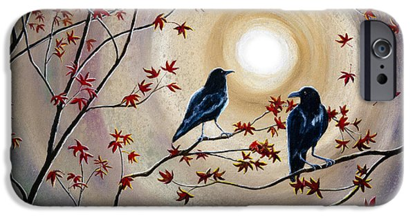 Crows iPhone Cases - Ravens in Autumn iPhone Case by Laura Iverson