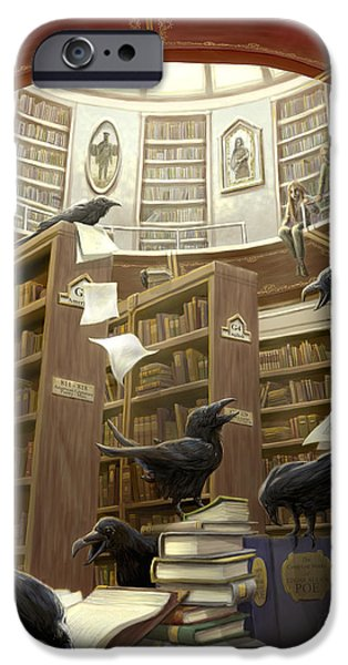 Raven iPhone Cases - Ravens in the Library iPhone Case by Rob Carlos