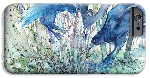 Mystic Setting iPhone Cases - Ravens Wood iPhone Case by Trudi Doyle