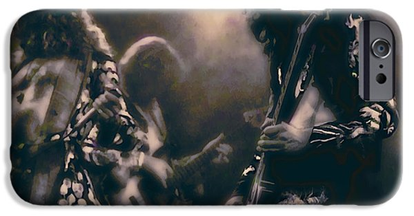 Jimmy Page iPhone Cases - RAW ENERGY of LED ZEPPELIN iPhone Case by Daniel Hagerman