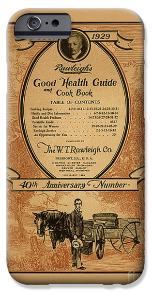 Horse And Buggy Mixed Media iPhone Cases - Rawleighs Good Health Guide and Cook Book 1928 iPhone Case by Anne Kitzman