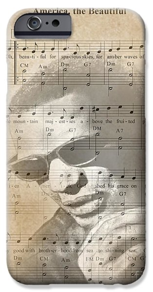 Piano iPhone Cases - Ray Charles America the Beautiful iPhone Case by Jim Fitzpatrick