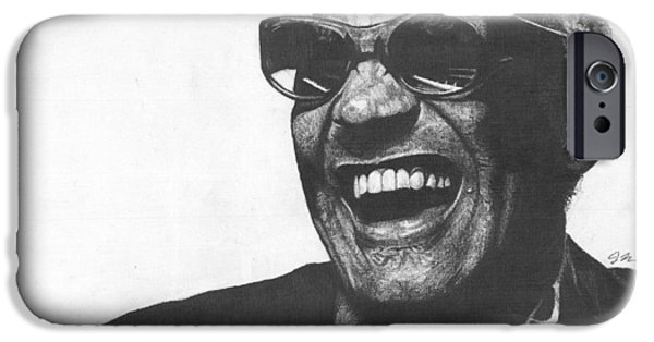 Piano Drawings iPhone Cases - Ray Charles iPhone Case by Jeff Ridlen