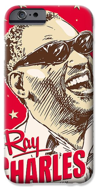 Piano iPhone Cases - Ray Charles Pop Art iPhone Case by Jim Zahniser