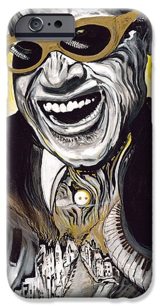 Art Of Soul Music iPhone Cases - Ray Charles view of the city iPhone Case by Vanness Johnson