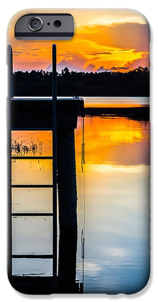 Sunset At The Lake iPhone Cases - Rays of  Sun By The Dock iPhone Case by Parker Cunningham