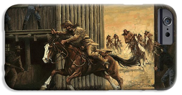 Brigade iPhone Cases - Re-closing Frontiersmen Coming into the Fort iPhone Case by Don  Langeneckert