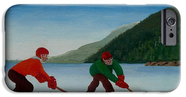 Hockey Paintings iPhone Cases - Reach for It iPhone Case by Anthony Dunphy