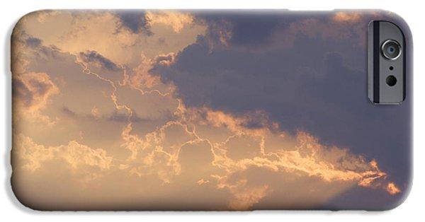 Sun Rays Digital Art iPhone Cases - Reach for the Sky 9 iPhone Case by Mike McGlothlen